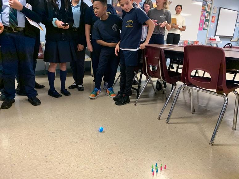 Students at at St. Joseph Pro-Cathedral School in Camden learn to use various robotic devices.
