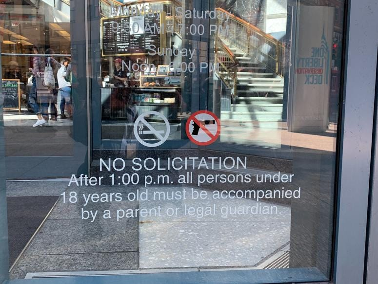 Liberty Place and some fast-food restaurants have also put entrance restrictions in place.