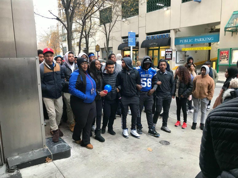 Classmates and teammates of Suhail Gillard marched from Mastery Charter School's Lenfest Campus to Penn's Landing.