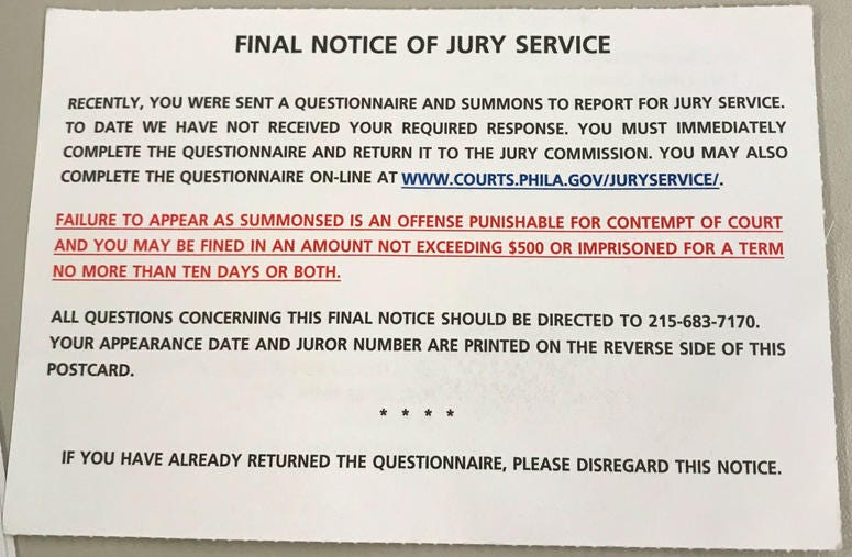 Notices like this, which many people received without having received the initial summons, prompted fearful reactions from prospective jurors.