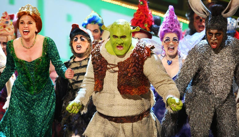 """Sutton Foster, Brian d'Arcy James and Daniel Breaker perform a song from """"Shrek the Musical"""" onstage during the 63rd Annual Tony Awards at Radio City Music Hall on June 7, 2009 in New York City."""