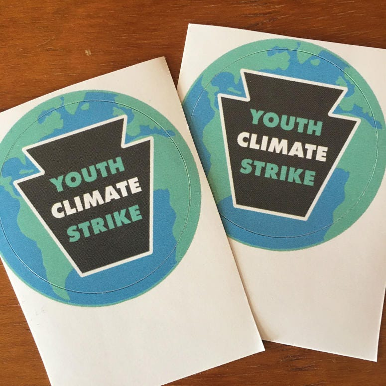 Stickers from Youth Climate Strike