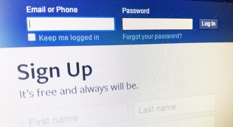 Facebook home login page on computer screen.