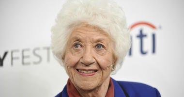 "In this Sept. 15, 2014 file photo, Charlotte Rae arrives at the 2014 PALEYFEST Fall TV Previews - ""The Facts of Life"" Reunion in Beverly Hills, Calif."