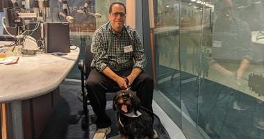 David Sichel and his emotional support dog Henry.