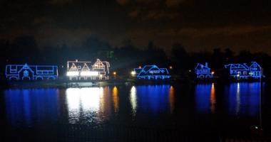 Hanukkah lights at Boathouse Row