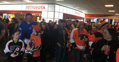 Flyers fans leaving the Wells Fargo Center after Saturdays win.