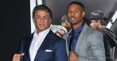 """L-R) Sylvester Stallone and Michael B. Jordan arrives at the """"Creed"""" Los Angeles Premiere held at the Regency Village Theater in Westwood, CA on Thursday, November 19, 2015."""