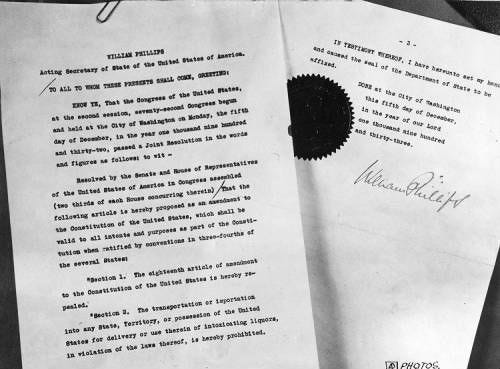 Photograph of the document that officially ended the dry era
