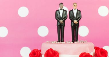 Same-sex marriage cake topper, two grooms