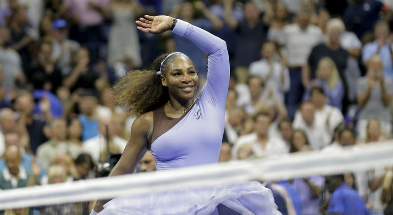 In this Sept. 6, 2018, file photo, Serena Williams celebrates after defeating Anastasija Sevastova, of Latvia, during the semifinals of the U.S. Open tennis tournament, in New York.