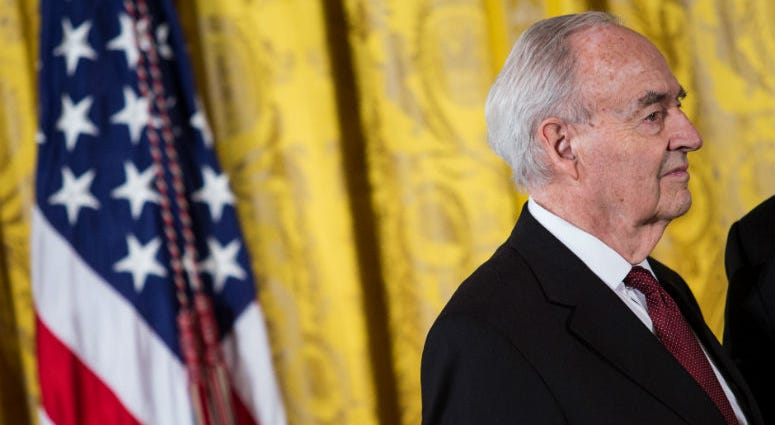 15 February 2013 - Washington, DC - Harris Wofford, former Pennsylvania Sen., and former CEO of the Corporation for National and Community Service, waits to receive his 2012 Presidential Citizens Medal, Friday, Feb. 15, 2013.