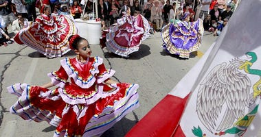 Members of Dance Academy of Mexico perform during Cinco de Mayo celebrations in Milwaukee, Wisconsin.