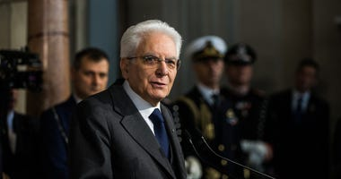 Italian President Sergio Mattarella speaks to the media at the end of the second day of consultations at the Quirinale Palace in Rome, capital of Italy, on April 13.