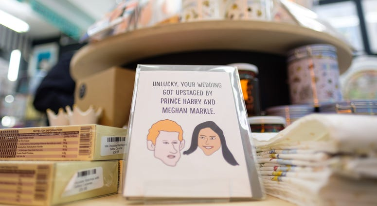 Alternative royal wedding souvenirs on sale in We Built This City, on Carnaby Street in London.