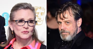 """File photos of Carrie Fisher and Mark Hamill as Hamill has said it is """"bittersweet"""" facing his final Star Wars chapter without his co-star."""