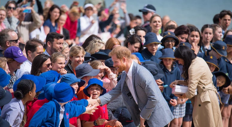 10/19/2018 - The Duke and Duchess of Sussex meet crowds on South Melbourne Beach during their visit to Melbourne, on the third day of the royal couple's visit to Australia.
