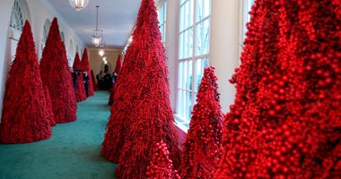 Christmas decor adorns the East Colonnade of the White House on Nov. 26, 2018 in Washington, D.C.