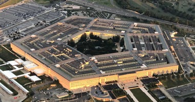 The Pentagon is seen from an airplane over Washington, DC on July 11, 2018.