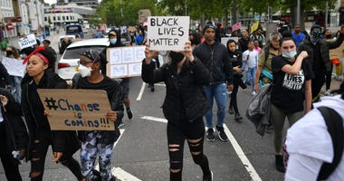 Protesters during a Black Lives Matter protest rally in Bristol, U.K., in memory of George Floyd who was killed on May 25 while in police custody in Minneapolis.
