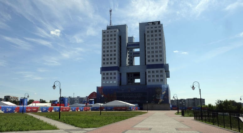 In this photo taken on Wednesday, June 27, 2018, a view of a 21-floor concrete structure building in Kaliningrad, Russia