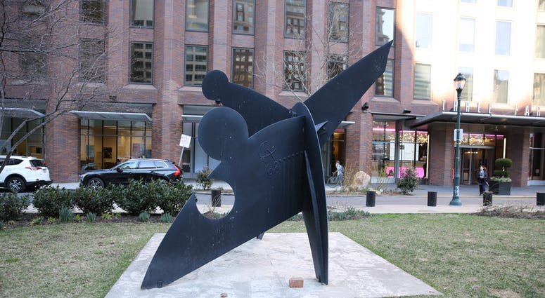 """""""Three Discs, One Lacking"""" sculpture on the Benjamin Franklin Parkway between 16th and 17th Streets by Alexander """"Sandy"""" Calder."""