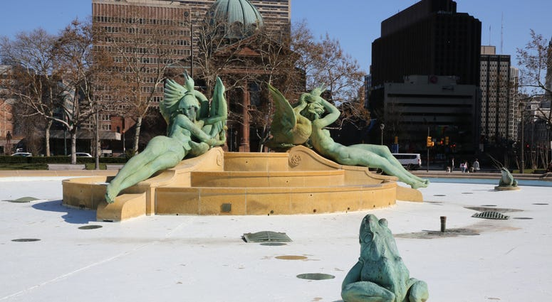 Swann Memorial Fountain by Alexander Stirling Calder located in the center of Logan Square.