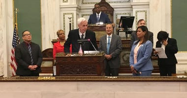 Retiring Pa. Sen. Stewart Greenleaf pushes criminal justice reform, speaking to Philadelphia City Council.