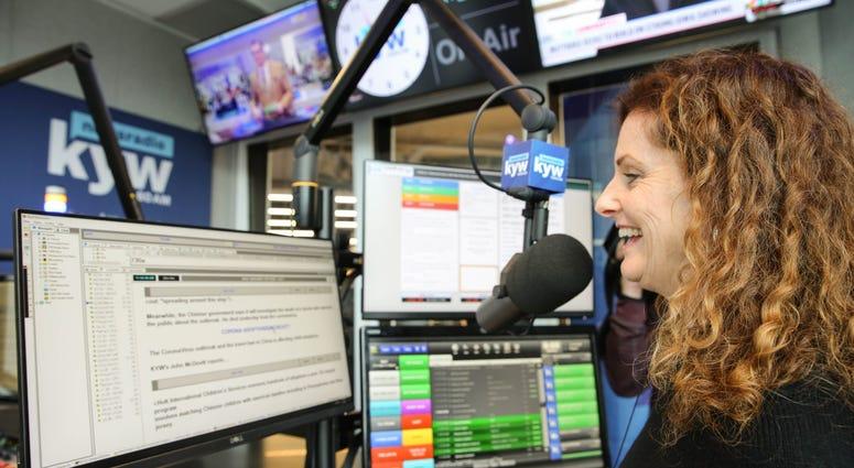 Carol MacKenzie on air from the new KYW Newsradio studios.