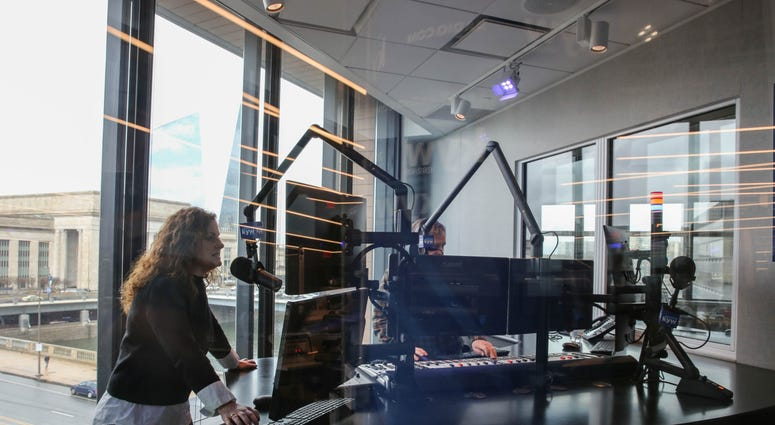 Breaking it in: Carol MacKenzie and Brandon Brooks take the brand new air studios for a spin.