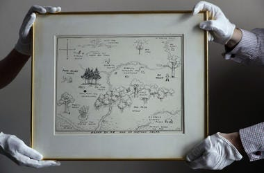 The original map of Winnie the Pooh's Hundred Acre Wood by E.H. Shepard