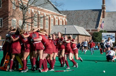 The Saint Joseph's University field hockey team celebrating.