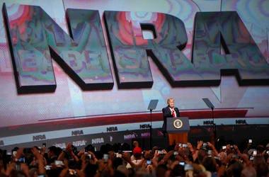 President Donald Trump speaks during the National Rifle Association-ILA Leadership Forum, in Atlanta in 2017.