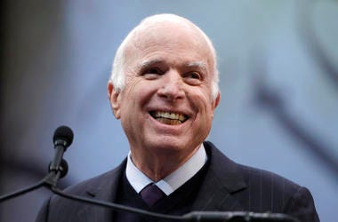 Sen. John McCain, R-Ariz., receives the Liberty Medal from the National Constitution Center in Philadelphia in 2017.