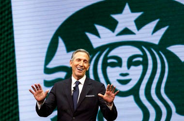 Starbucks CEO Howard Schultz speaks at the Starbucks annual shareholders meeting in Seattle in 2017.