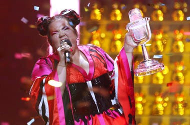 Netta from Israel celebrates after winning the Eurovision song contest in Lisbon, Portugal.