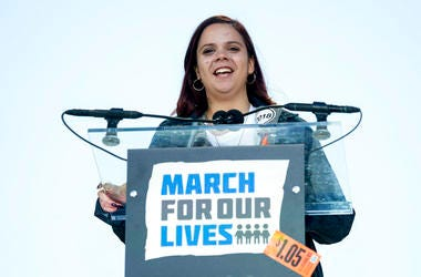 """Samantha Fuentes, a survivor of the mass shooting at Marjory Stoneman Douglas High School in Parkland, Fla., speaks during the """"March for Our Lives"""" rally in support of gun control in Washington."""