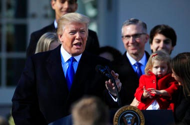 President Donald Trump speaks to participants of the annual March for Life event, in the Rose Garden of the White House in Washington.