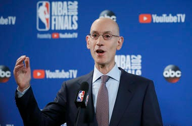 NBA Commissioner Adam Silver speaks at a news conference before Game 1 of basketball's NBA Finals between the Golden State Warriors and the Cleveland Cavaliers in Oakland, Calif.