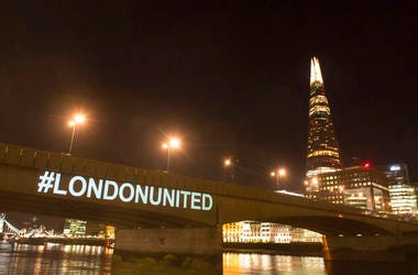 A tribute is projected onto the side of London Bridge, London, Sunday June 3, 2018, to mark one year since a deadly vehicle-and-knife attack on London Bridge.