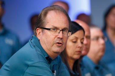 In this July 16, 2019, file photo, Gary Jones, United Auto Workers president, speaks during the opening of their contract talks with Fiat Chrysler Automobiles in Auburn Hills, Mi.