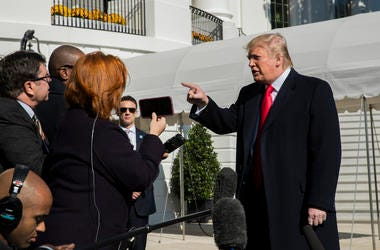 President Donald Trump speaks to reporters upon arrival at the White House in Washington, Sunday, Nov. 3, 2019.