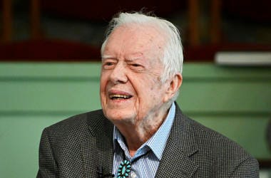 Former President Jimmy Carter teaches Sunday school at Maranatha Baptist Church in Plains, Ga., on Nov. 3, 2019.