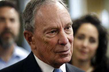 Potential Democratic presidential candidate Michael Bloomberg speaks to workers during a tour of the WH Bagshaw Company.