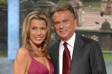 "File photo of co-host Vanna White and host Pat Sajak making an appearance at Radio City Music Hall for a taping of celebrity week on ""Wheel of Fortune"" in New York."