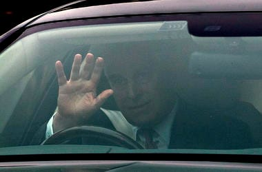 Britain's Prince Andrew leaves his home in Windsor, England on Thursday.