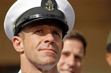 File photo of Navy Special Operations Chief Edward Gallagher leaving a military court on Naval Base San Diego.