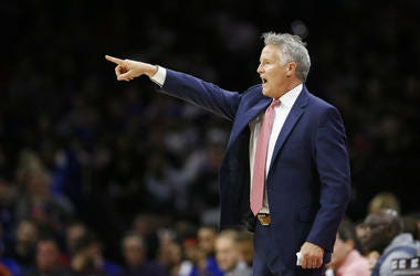 Philadelphia 76ers head coach Brett Brown yells to his team during the first half of an NBA basketball game against the Miami Heat.