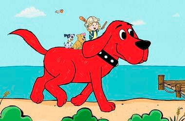 "scene from the reboot of ""Clifford the Big Red Dog."""