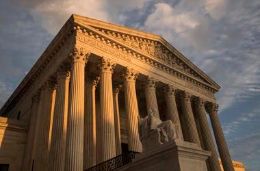 Supreme Court in Washington, at sunset